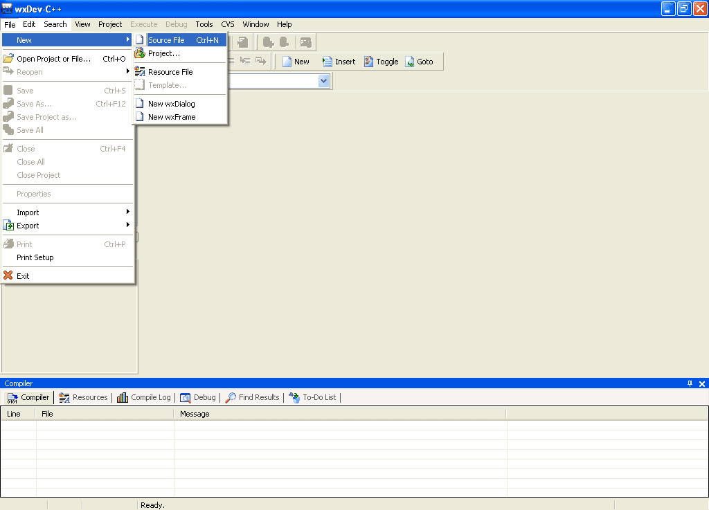 wxDev-C++ IDE Window