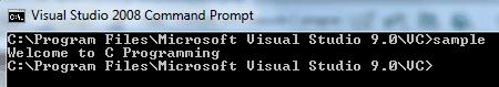 Output C program Windows 7