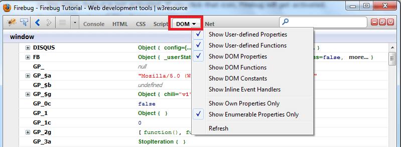 Firebug Tutorial - Web development tools - w3resource
