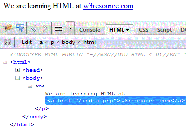html a tag example