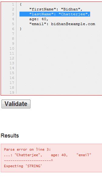 JSONLint - showing validation error