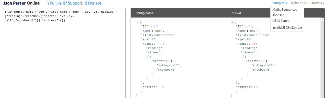JSON Parser online samples
