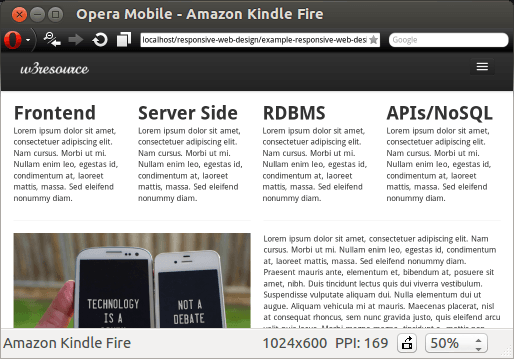 unResponsive design on Amazon Kindle Fire with a different orientation