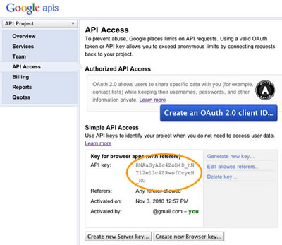 Google maps API key access