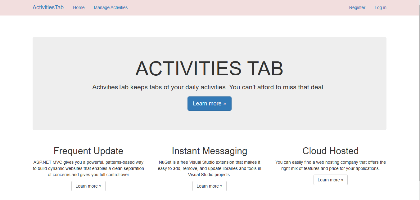 asp.net activities tab