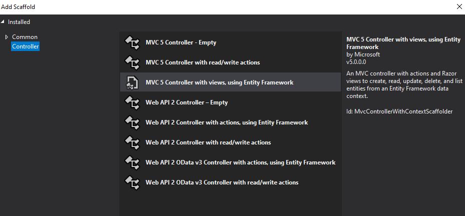 asp.net add scaffold