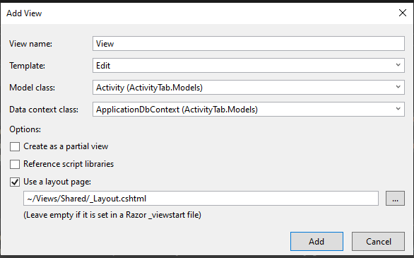 asp.net create an Edit view for Activity