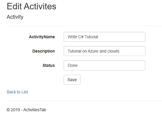 asp.net edit activites