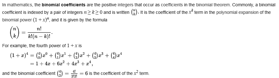 Java Exercises: Math - Binomial Coefficients