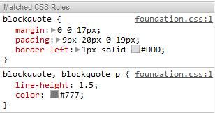 blockquote styles Zurb Foundation 3