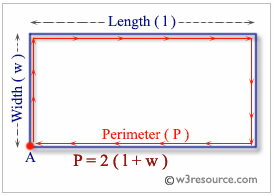 C Exercises: Compute the perimeter and area of a rectangle - w3resource