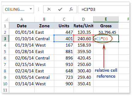 Cell References in Excel - w3resource