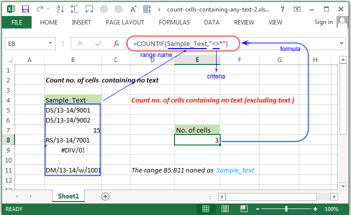 Excel Count - Count no. of cells containing any text - w3resource