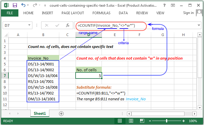 Excel Count - Count number of cells containing specific text - w3resource