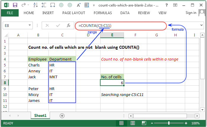Excel Count - Count no. of cells which are not blank using COUNTA ...