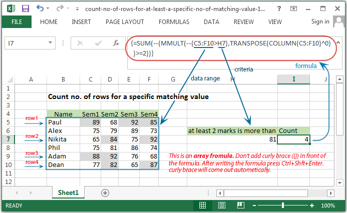 Excel Count - Count number of rows for a specific matching