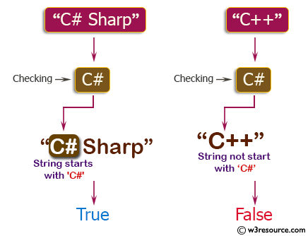C++ Basic Algorithm Exercises: Check if a given string starts with 'C#' or not.
