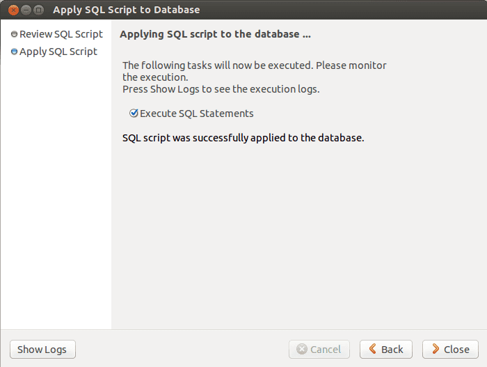 MySQL Workbench Create database Step 4