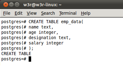 create table form command line