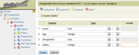 create table phppgadmin step3