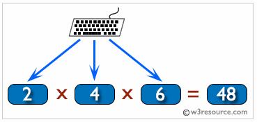 C# sharp Exercises: Multiplication of three numbers