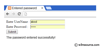 C# Sharp Exercises: Check username and password - w3resource