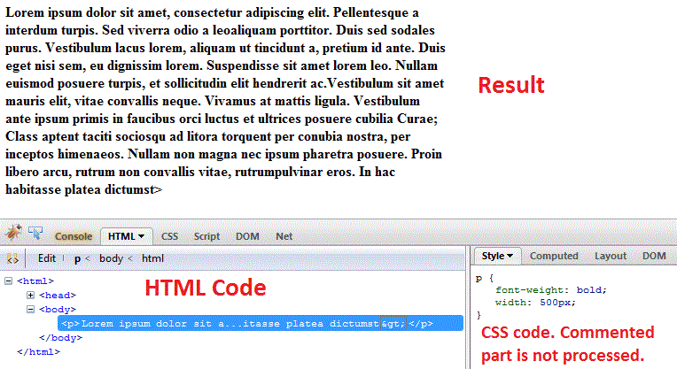 css comments browser
