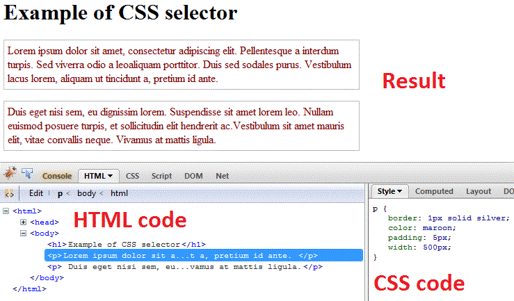css selector browser