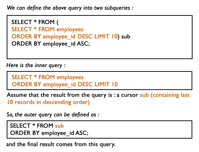 MySQL Subquery Exercises: Query to select last 10 records