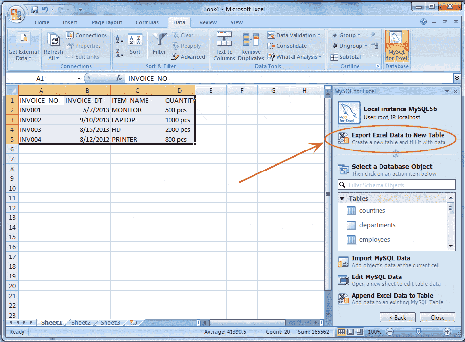 Exporting and importing data between MySQL and Microsoft excel ...