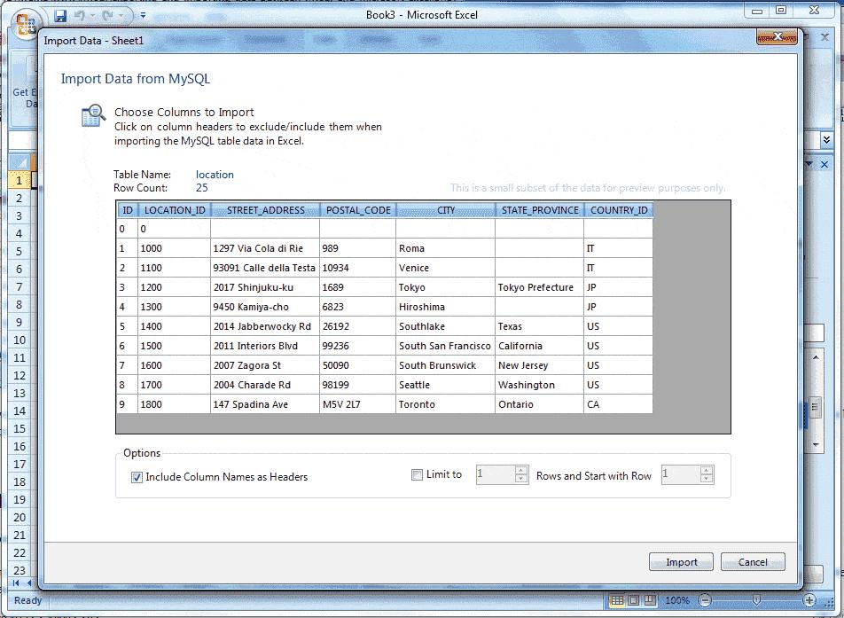 MySQL for excel-1