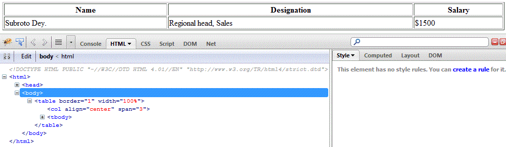 html col tag example