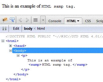 html samp element