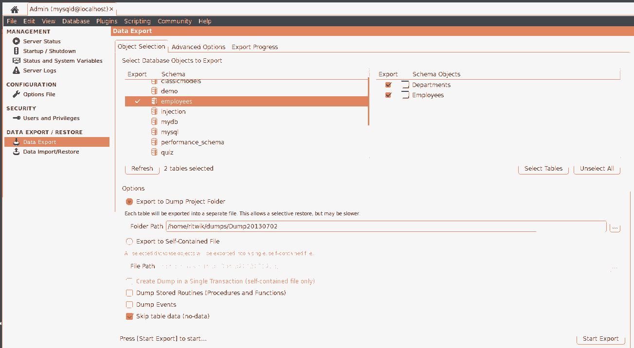 MySQL Workbench Export