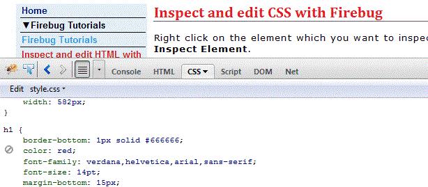 inspect edit CSS Firebug