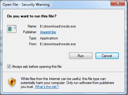 install Node.exe on windows step1