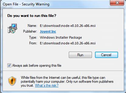 install node msi version on windows step1