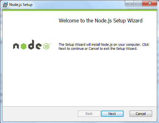install node msi version on windows step2