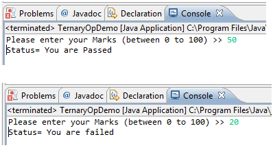 Java Conditional or Relational Operators - w3resource