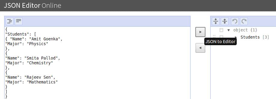 josn online editor JSON to Editor