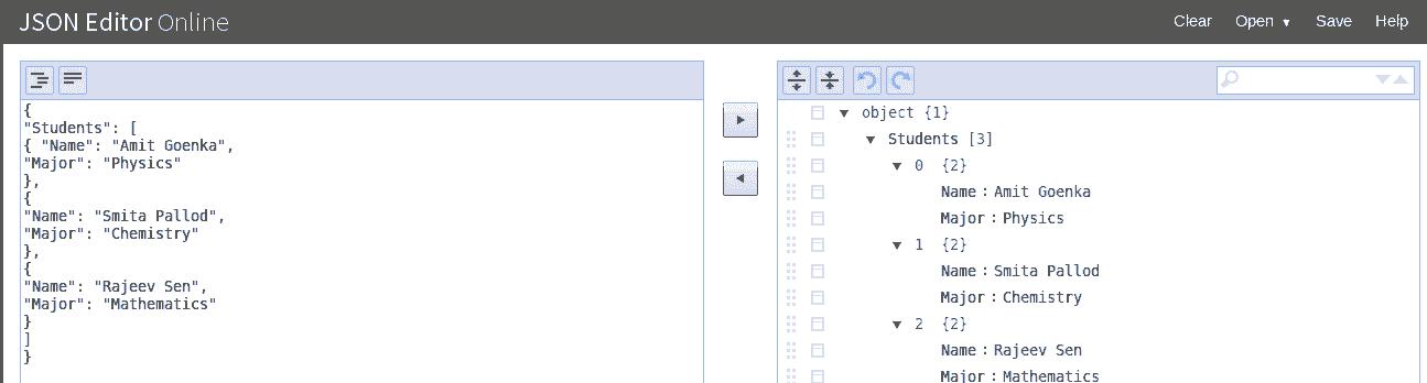 josn online editor tree