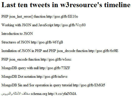 last-ten-tweets-fetched-PHP-JSON w3resource