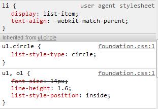 lists styles Zurb Foundation 3