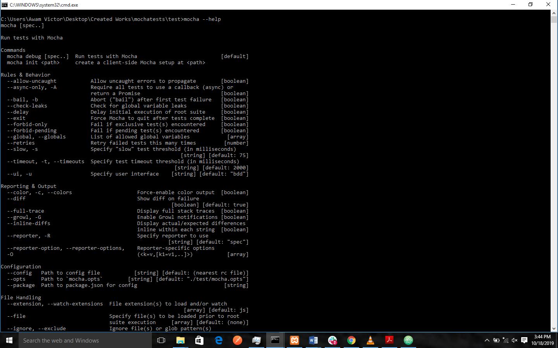 mocha command line usage
