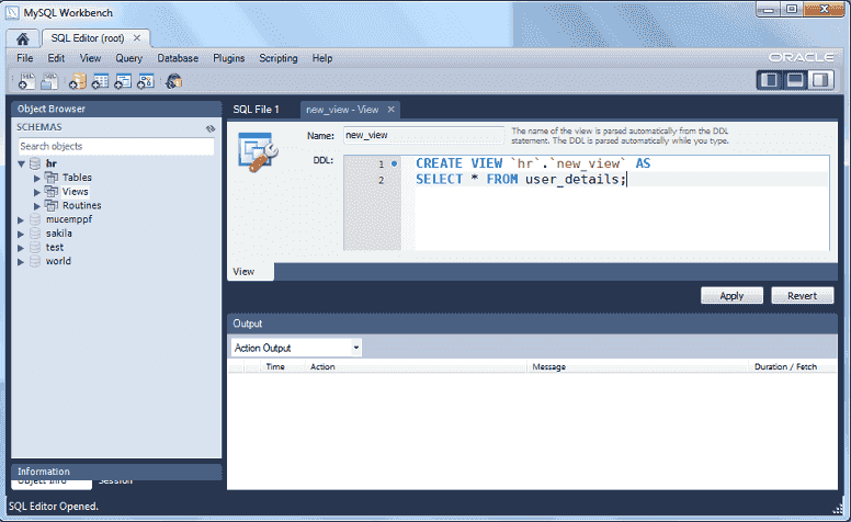 mysql 5.6 workbench create views