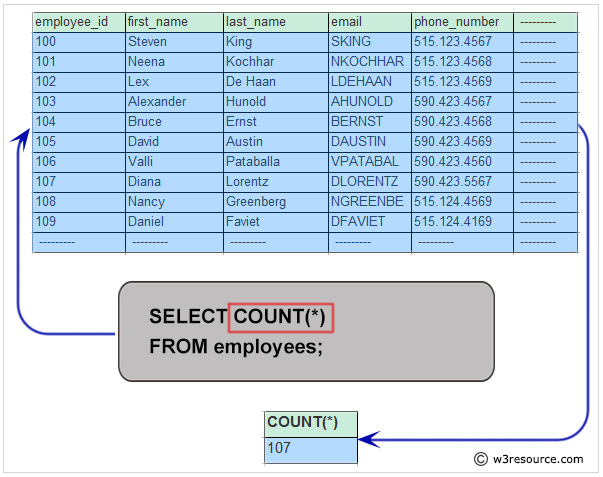 basic select statement  get the number of employees working with the company