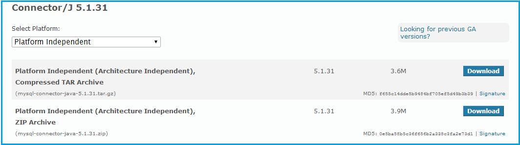 mysql java connector (platform independent) download