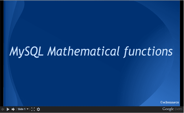 MySQL Mathematical Functions, slide presentation