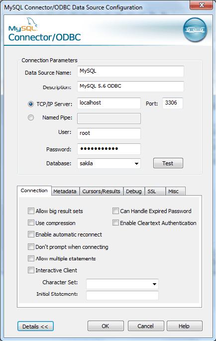 mysql odbc configuration step5