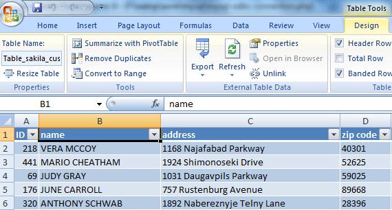 mysql odbc excel 2007  partial data